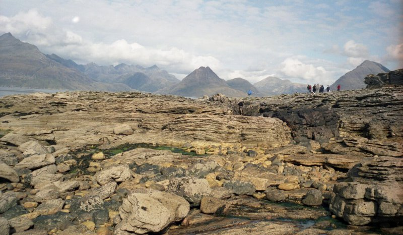 Middle Jurassic tidal sandstones near Elgol, with the Cuillin Mountains behind, Isle of Skye