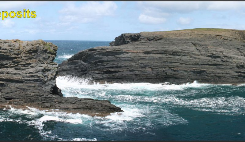 Unstable slope system slumps and glide planes, form a slope healing phase associated with synsedimentary faulting, Clare Basin, West of Ireland