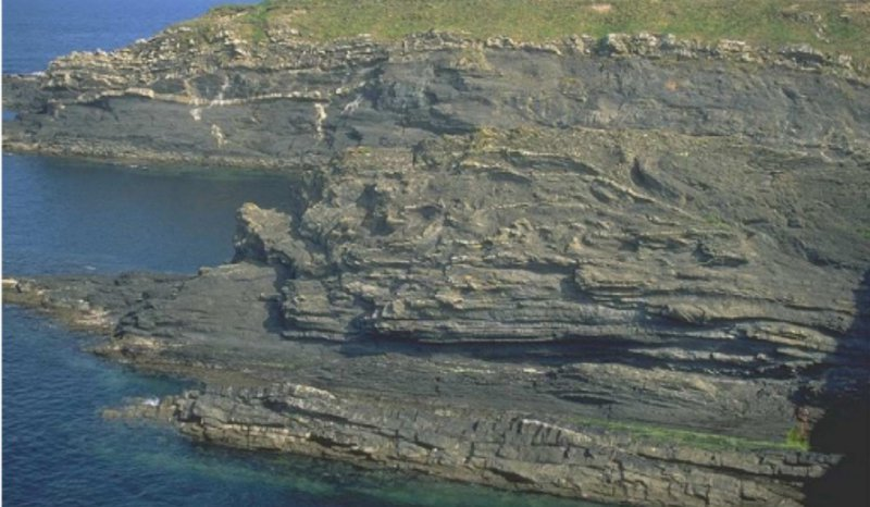 Major slumps and glide planes forming slope healing phase, Windy Bay, Western Ireland