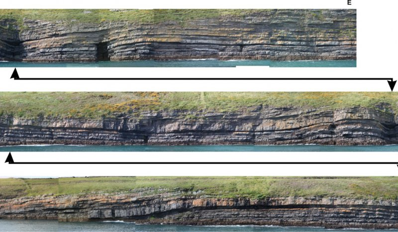 Long coastal exposures of the Rehy Cliffs turbidite channel complex are accessed by boat, Clare Basin, West of Ireland