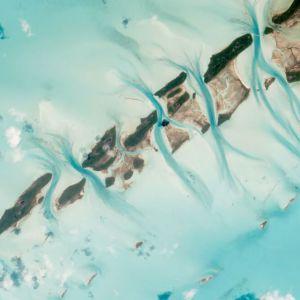 NASA Satellite image of tidal channels cutting through the Bahamas