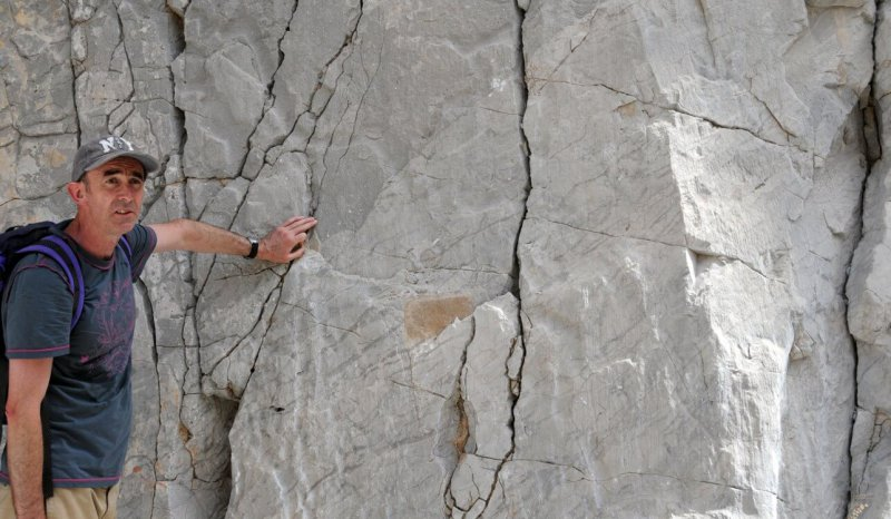 Fractures in foreslope limestones, Wadi Assayi, Jebel Akhdar