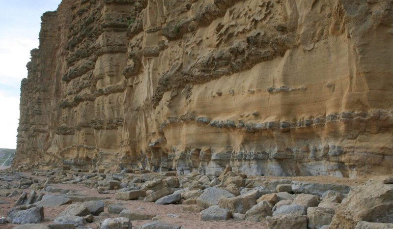 Large scours in the Jurassic Bridport Sandstone at West Bay